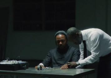 """Kendrick Lamar and Don Cheadle in the """"DNA."""" video."""