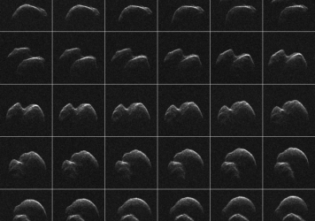 This composite of 30 images of asteroid 2014 JO25 was generated with radar data collected using NASA's Goldstone Solar System Radar in California's Mojave Desert.