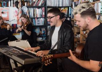 alt-J performs a Tiny Desk Concert on Apr. 17, 2017. (Marian Carrasquero/NPR)