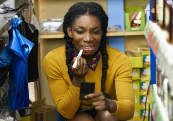 "Tracey Gordon being her anxiously free self in Netflix's ""Chewing Gum."""