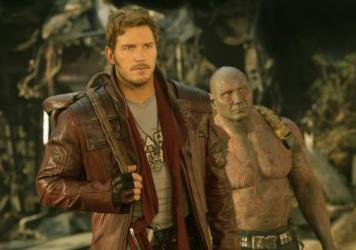 Peter Quill (Chris Pratt) and Drax (Dave Bautista) in <em>Guardians of the Galaxy Vol. 2</em>.
