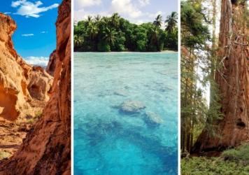 Three of the national monuments now under review by the Department of the Interior: (from left to right) Gold Butte in Nevada, the Pacific Remote Islands and Giant Sequoia in Northern California.