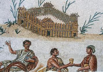 Fortified dwelling and open air banquet, detail from a mosaic portraying a Nilotic landscape from El Alia, Tunisia. Roman Civilisation, 2nd century. Musée National Du Bardo (Archaeological Museum)