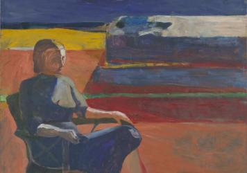Richard Diebenkorn, <em>Woman on a Porch</em>, 1958; oil on canvas.