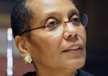 Court of Appeals Judge Sheila Abdus-Salaam speaks to family and friends after a swearing-in ceremony at the New York Court of Appeals in Albany, N.Y., in 2013.