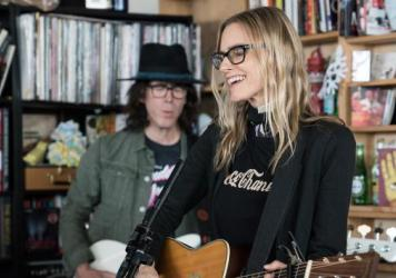 Aimee Mann performs at Tiny Desk Concert on Apr. 20, 2017 (Marian Carrasquero/NPR)