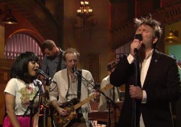 "LCD Soundsystem performs ""Call The Police"" on <em>Saturday Night Live</em>."
