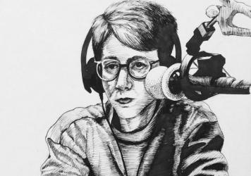 Depiction of <em>Fresh Air</em> host Terry Gross by Washington, D.C., artist Mandy Cooper.