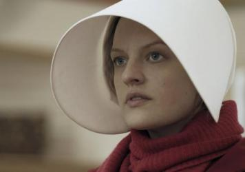 Offred (Elisabeth Moss) in the Hulu series<em> The Handmaid's Tale</em>.