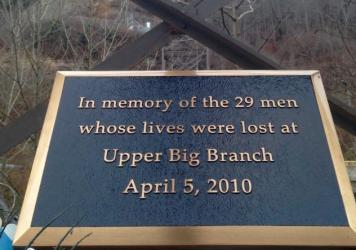A plaque memorializes 29 miners killed in a 2010 explosion at a Massey Energy mine in West Virginia. Former Massey CEO Don Blankenship wants the U.S. Supreme Court to overturn his conviction on charges of willfully violating mine safety and health standards.