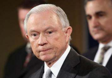 "Attorney General Jeff Sessions addresses the Sergeants Benevolent Association of New York City at an event Friday in Washington, D.C. During his speech, Sessions said federal prosecutors ""deserve to be unhandcuffed and not micromanaged from Washington."""