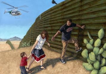 <em>In Search of a New Home</em> is part of Eric Almanza's series of oil paintings depicting the border wall with Mexico.