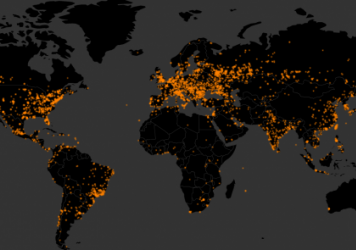 Each orange dot is a unique infection by WannaCrypt ransomware as recorded by MalwareTech.com