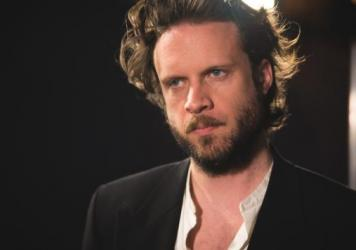 Father John Misty inside the <em>World Cafe</em> performance studio.