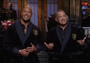 "Dwayne ""The Rock"" Johnson hosted the season finale for Saturday Night Live. Johnson, who has been publicly toying with the idea of running for president, recruited Tom Hanks to be his vice president."