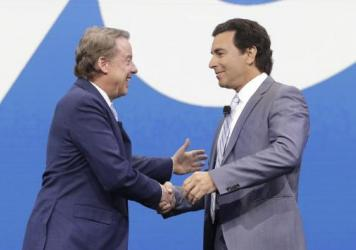 In Detroit, Ford Motor Co. Executive Chairman Bill Ford (left) greets President and Chief Executive Mark Fields at the North American International Auto Show in January.