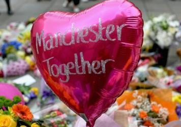 Floral tributes and messages in St. Anns Square on May 24, 2017 in Manchester, England.