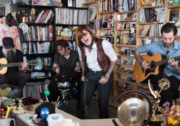 Royal Thunder performs a Tiny Desk Concert on May 10, 2017. (Claire Harbage/NPR)