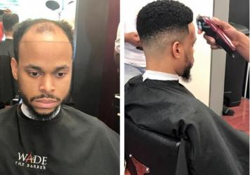 Robert Jenkins before and after barber Wade Menendez installed his hair unit a.k.a man weave.