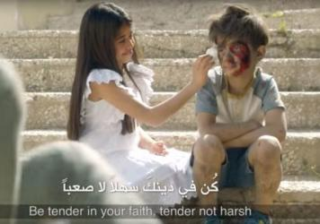 A new video for the Ramadan holiday has a message of peace — but its depiction of a boy who survived an airstrike in Syria is drawing criticism.