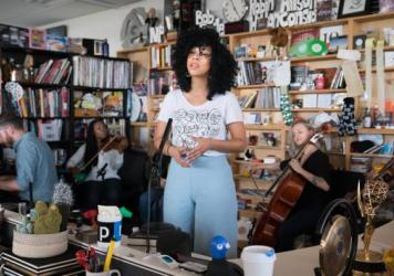 Violents & Monica Martin performs a Tiny Desk Concert on March 28, 2017. (Claire Harbage/NPR)