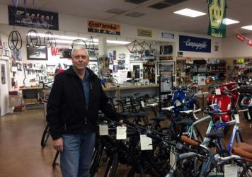 Bill Cole owns Wheelworks Bicycle Shop in Eugene, Ore. (Chris Lehman/Northwest News Network)