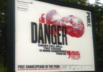 The Public Theater's production of <em>Julius Caesar</em> in New York's Central Park features a titular character who wears a Donald Trump-like costume and is stabbed to death onstage.