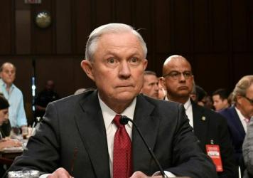 Attorney General Jeff Sessions arrives to testify during a Senate Select Committee on Intelligence hearing on Tuesday.