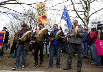 Native Americans and their supporters protest in March outside of the White House against the construction of the disputed Dakota Access oil pipeline.