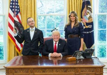 Rhode Island Teacher of the Year Nikos Giannopoulos in the Oval Office.