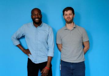 Sam Sanders (left) is the host of NPR's new podcast, <em>It's Been a Minute with Sam Sanders</em>, and Brent Baughman (right) is the producer.