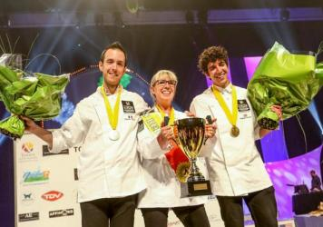 Ten international cheesemongers competed to be named the best cheesemonger in the world at Mondial du Fromage. Nathalie Vanhaver, from Belgium, in center, took gold. Christophe Gonzalez, from France, on the left, won silver; and for the first time ever, an American, Nadjeeb Chouaf, took home the bronze.