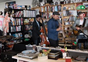 Ravi Coltrane performs a Tiny Desk Concert on May 4, 2017. (Claire Harbage/NPR)