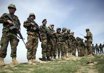 Afghan National Army soldiers stand guard in March 2016 in Baghlan province, Afghanistan.