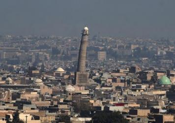"The Great Mosque of al-Nuri in Mosul, with its tall, leaning al-Hadba minaret, was where ISIS leader Abu Bakr al-Baghdadi declared the group's ""caliphate"" in Iraq and Syria in July 2014."