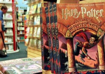 Copies of <em>Harry Potter and the Sorcerer's Stone</em>, on sale in an Arlington, Virginia bookstore in 2000.