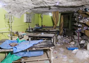A picture taken on April 4 shows destruction at a hospital room in Khan Sheikhun, a rebel-held town in the northwestern Syrian Idlib province, following a chemical weapons attack.