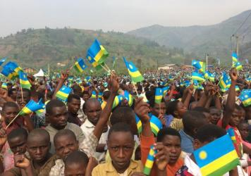 Thousands gather to celebrate Liberation Day in Shyira, Rwanda. Twenty-three years ago, a rebel army led by Paul Kagame, now the president, marched into Kigali to end a genocide against the Tutsi minority.