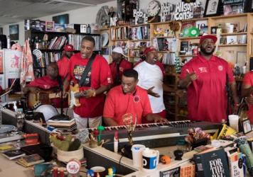 Rare Essence performs a Tiny Desk Concert on June 9, 2017. (Liam James Doyle/NPR)