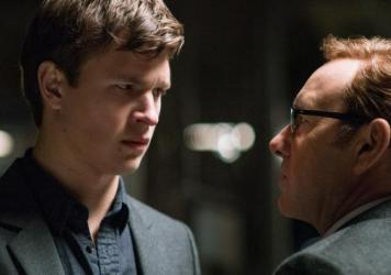Baby (Ansel Elgort) looks dubious as Doc (Kevin Spacey) convinces him to do One! Last! Job! in Edgar Wright's <em>Baby Driver</em>.