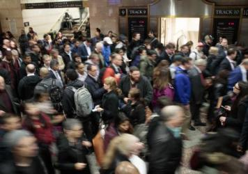 The snarled evening commute at Penn Station in April following a derailment.