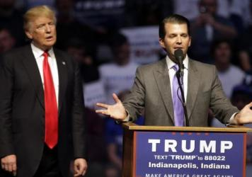 Donald Trump Jr. speaks at a campaign stop with his father, then-GOP presidential candidate Donald Trump, in April 2016 in Indianapolis.