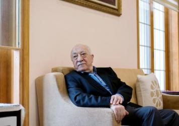Fethullah Gulen sits in a room at his compound in Saylorsburg, Pennsylvania. He has lived in exile in the United States since the late 1990s. Turkish President Recep Tayyip Erdogan blames Gulen for last year's failed coup and is seeking his extradition.