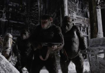 Caesar (Andy Serkis, center) and his fellow apes prepare to cross a moral Rubicon in <em>War for the Planet of the Apes</em>.