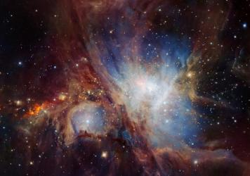 This image of the Orion Nebula star-formation region was obtained by multiple exposures using the HAWK-I infrared camera on ESO's Very Large Telescope in Chile.