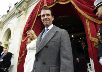 Donald Trump Jr. and Ivanka Trump arrive for President Trump's inauguration on Jan. 20. Trump Jr. is under scrutiny after revelations about a meeting he held with a Russian lawyer in 2016.