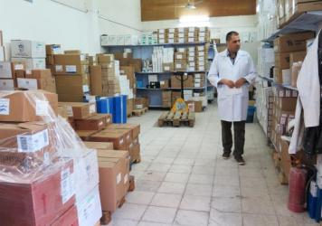 Nael Skaik, the pharmacy director at Gaza's main hospital, says this medicine storage room is usually so full of boxes of medicines that it's hard to find space to walk. Now medicines are running out as Palestinian Authority President Mahmoud Abbas has h