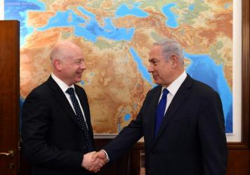 Israel's Prime Minister Benjamin Netanyahu meets President Trump's Middle East envoy Jason Greenblatt in Jerusalem on June 21.