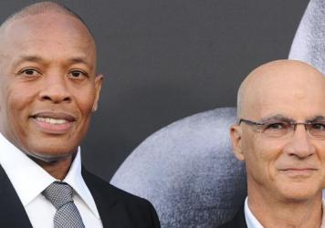 Dr. Dre (left) and Jimmy Iovine at the premiere of <em>The Defiant Ones </em>in Los Angeles.