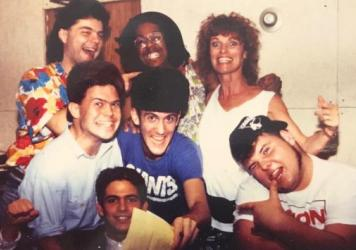 "Members of Edelweiss and ""entourage"" at New York's Unique Studios, 1986 — Top row, from left: Walter Werzowa (Edelweiss), Dennis (recording engineer), singer Mercedes Hall; Bottom row, from left: rappers Cooly C and Raf, Martin Biedermeier; Seated: Matthias Schwerer (Edelweiss)"